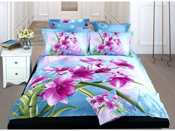 Flower and Blue Water Print 4-Piece Cotton Duvet Cover Sets