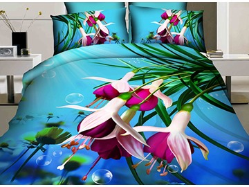 3D Purple Fuchsia Printed Cotton 4-Piece Blue Bedding Sets/Duvet Cover