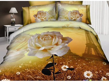Charming Rose and Eiffel Tower Print 4-Piece Cotton Duvet Cover Sets