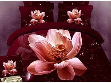 3D Blooming Lotus Printed Cotton 4-Piece Burgundy Bedding Sets/Duvet Cover