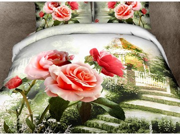 Beautiful Rose Garden Print 4-Piece Cotton Duvet Cover Sets