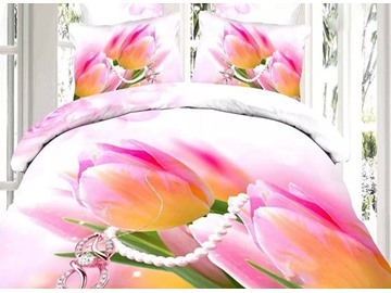Bright Tulip and Diamond Print 4-Piece Cotton Duvet Cover Sets