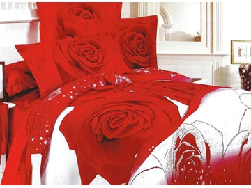 Noble Red Rose Print 4-Piece Cotton Duvet Cover Sets