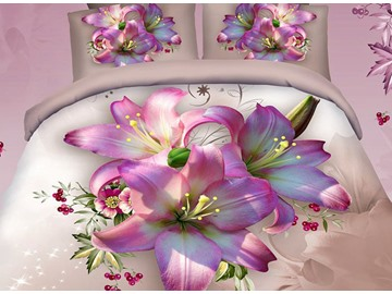 Floral 3D Printed Cotton 4-Piece Bedding Sets/Duvet Covers Microfiber Floral Comforter Sets for All Seasons Colorfast Wear-resistant Endurable Pink Lily Skin-friendly All-Season Ultra-soft Microfiber No-fading