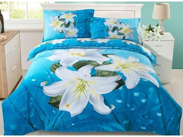 Dignified Lily Flower Print 4-Piece Cotton Duvet Cover Sets