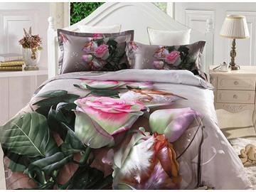 Dewy Pink Rose Print 4-Piece Cotton Duvet Cover Sets