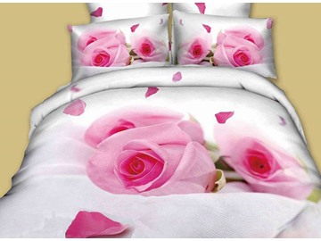 Enchanting Pink Rose Print 4-Piece Cotton Duvet Cover Sets