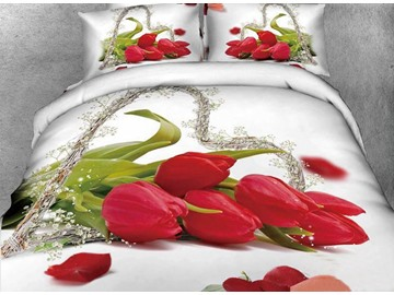 Heart Shaped Cane and Tulips Print 4-Piece Cotton Duvet Cover Sets