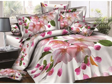 Delicate Peach Blossom Print 4-Piece Cotton Duvet Cover Sets