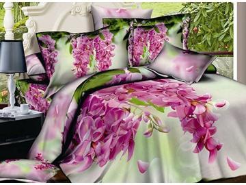 Pink Flos Sophorae Print 4-Piece Cotton Duvet Cover Sets