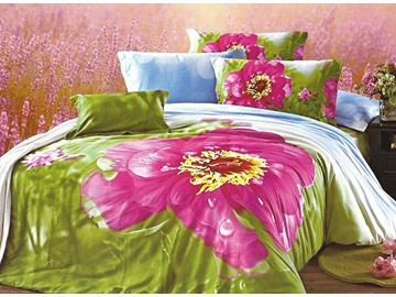 Luxury Big Dewy Flower Print 4-Piece Cotton Duvet Cover Sets