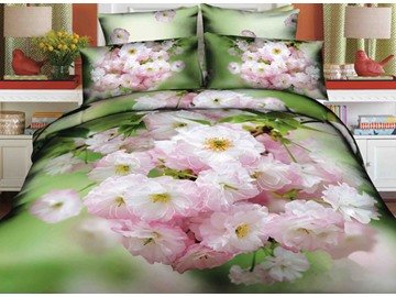 3D Light Pink Crabapple Printed Cotton 4-Piece Bedding Sets/Duvet Covers