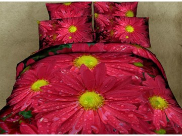 3D Dewy Red Daisy Printed Cotton 4-Piece Bedding Sets/Duvet Covers