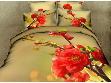 Red Peach Blossom Print 4-Piece Cotton Duvet Cover Sets