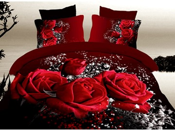 3D Red Roses with Baby Breath Printed Cotton 4-Piece Bedding Sets