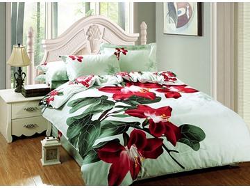 Bright Red Flower Print 4-Piece Cotton Duvet Cover Sets