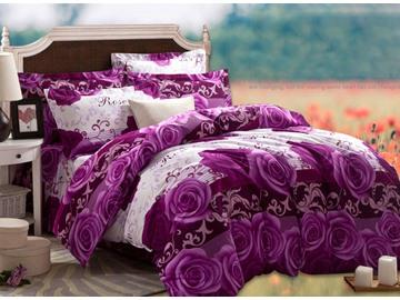 3D Purple Rose Printed Cotton 4-Piece Full Size Bedding Sets/Duvet Covers