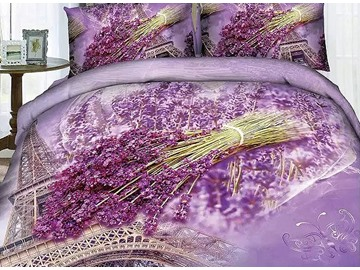 3D Lavender and Eiffel Tower Printed Cotton 4-Piece Bedding Sets/Duvet Covers