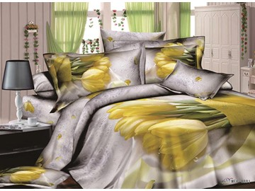 3D Yellow Tulip Printed Cotton Full Size 4-Piece Bedding Sets/Duvet Covers