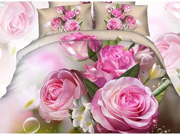 Lifelike Shinning Pink Flowers 4-Piece Cotton Duvet Cover Sets
