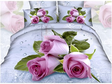 Pink Roses with Waterdrop 3D Printed 4-Piece Cotton Duvet Cover Sets