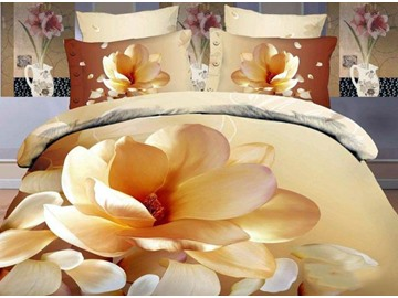 3D Magnolia Printed Elegant Style Cotton 4-Piece Bedding Sets/Duvet Covers