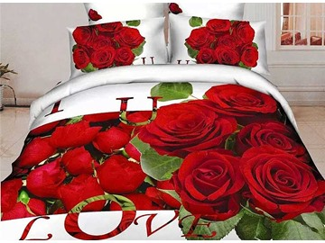 Pretty Red Rose Print 4-Piece Cotton Duvet Cover Sets