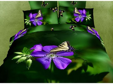 3D Violet Flower and Butterfly Printed Cotton 4-Piece Bedding Sets/Duvet Covers