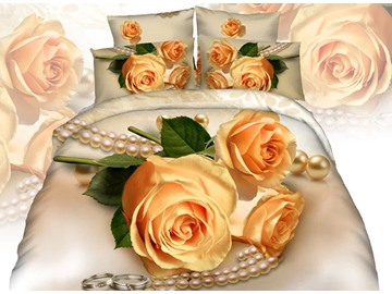 Yellow Rose Necklace 3D Printed Cotton 4-Piece Bedding Sets/Duvet Covers