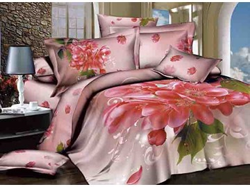 3D Hot Pink Cherry Blossom Printed Cotton 4-Piece Bedding Sets/Duvet Covers