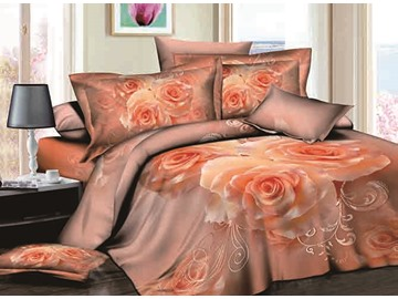 3D Apricot Rose Printed Cotton 4-Piece Bedding Sets/Duvet Covers