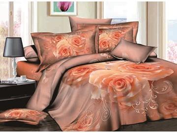 3D Apricot Rose Printed Cotton 4-Piece Bedding Sets/Duvet Covers