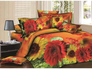 3D Red and Yellow Asters Printed Cotton 4-Piece Bedding Sets/Duvet Covers