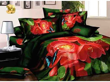 3D Red Begonia and Butterfly Printed Cotton 4-Piece Bedding Sets/Duvet Covers