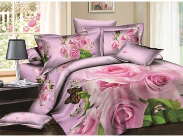 3D Pink Rose and Butterfly Printed Cotton 4-Piece Bedding Sets/Duvet Covers