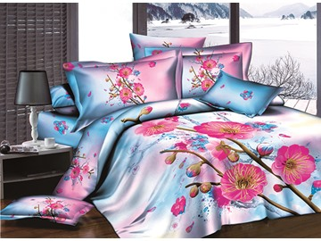 3D Rosy Peach Blossom and Bud Printed Cotton 4-Piece Bedding Sets/Duvet Covers