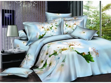 White Pear Blossom Printing Sky Blue 4-Piece Cotton Duvet Cover Sets