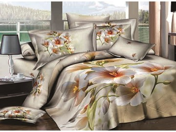 3D White Pear Flowers Printed Cotton 4-Piece Bedding Sets/ Duvet Cover