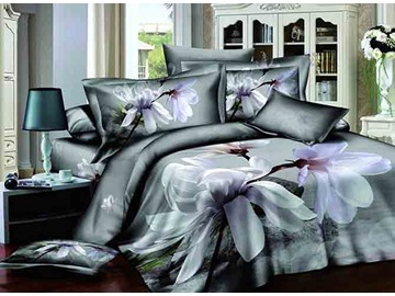 Magnolia Print Snugly Cotton 4-Piece Duvet Cover Sets