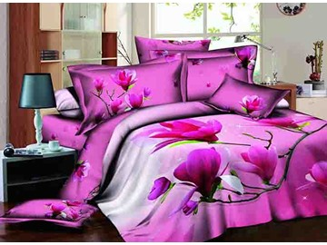 3D Hot Pink Magnolia Printed Cotton 4-Piece Bedding Sets/Duvet Cover