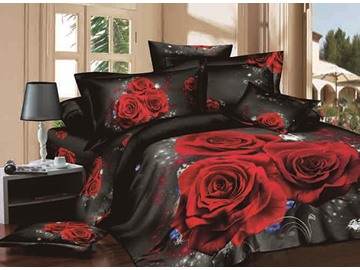 3D Red Rose Printed Cotton 4-Piece Black Bedding Sets/Duvet Covers