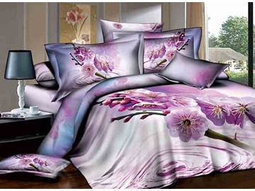 3D Dewy Purple Peach Blossom Printed Cotton 4-Piece Bedding Sets/Duvet Cover