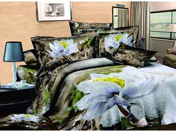 3D Snow Lotus Printed Cotton 4-Piece Bedding Sets/Duvet Covers