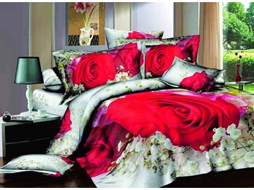 3D Red Rose and Gypsophila Printed Cotton 4-Piece Bedding Sets/Duvet Covers