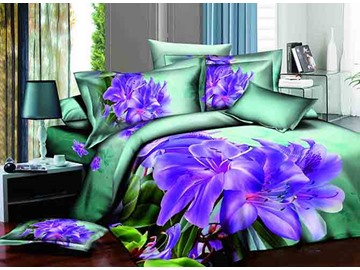 3D Purple Lily Printed Cotton 4-Piece Green Bedding Sets/Duvet Cover