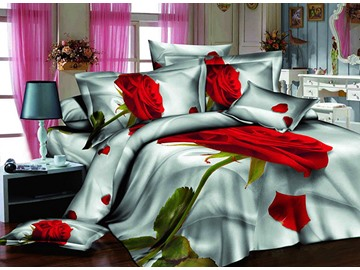 3D Single Red Rose Printed Cotton 4-Piece Bedding Sets/Duvet Covers