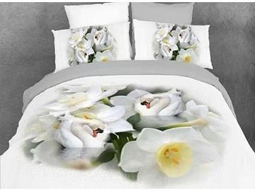 Graceful White Lotus Swans Print Cotton 4-Piece Duvet Cover Sets