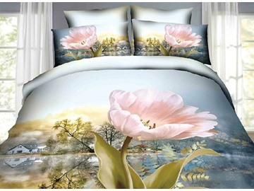 Pink Flowers Village Scenery Print Cotton 4-Piece Duvet Cover Sets
