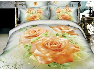 Mellow Three Yellow Roses Print Cotton 4-Piece Duvet Cover Sets