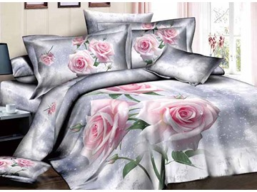 3D Pink Roses Printed Luxury Cotton 4-Piece Bedding Sets/Duvet Cover